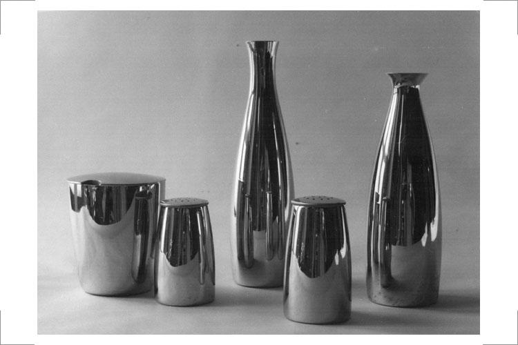 04 (wie 03) Günter Reißmann, Menage, Messing vernickelt, 1957 (Fotohaus Schöne, Bitterfeld)