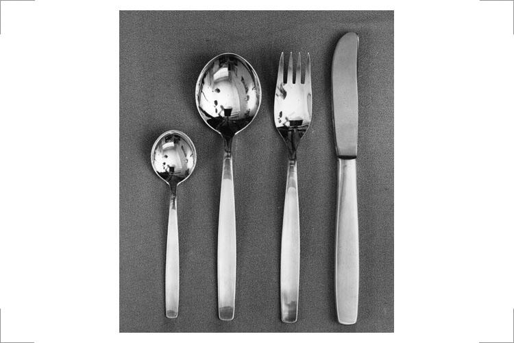 09 Günter Reißmann, Menübesteck, Silber, Modell für Edelstahl, ca. 1959, Erstes Besteck für Smalcalda, Werkzeug- und Besteckfabrik Schmalkalden