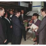 """Auszeichnung von Antje Erkmann auf der Leipziger Frühjahrsmesse 1990, mit Prototyp """"erika 3010"""""""